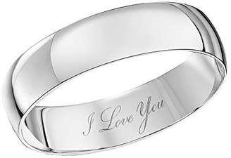 Theia Unisex 9 ct White Gold Heavy D Shape, Engraved I Love You, Polished 5 mm Wedding Ring - Size L