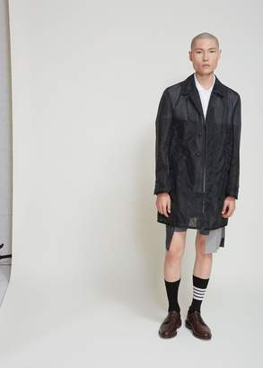 Thom Browne Mesh Bal Collar Overcoat