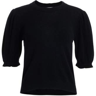 Frame Shirred Sustainable Cashmere Puff-Sleeve Sweater