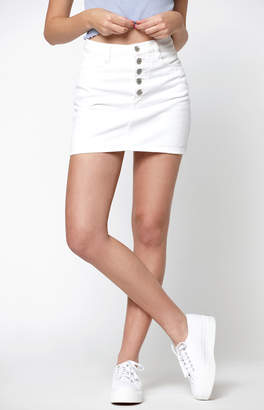 adidas John Galt Exposed Button White Mini Skirt