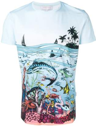 Orlebar Brown x Good Wives and Warriors Reef Scene printed T-shirt