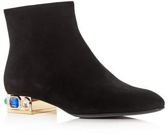 Casadei Women's Bisan Suede Embellished Low-Heel Booties