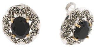 14k Gold And Sterling Silver Agate And Marcasite Earrings