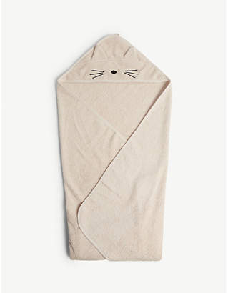 LIEWOOD Cat hooded organic cotton towel