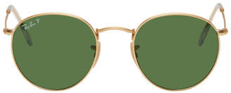 Ray-Ban Gold and Green Round Phantos Sunglassses