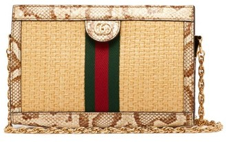 Gucci Ophidia Small Watersnake Trim Woven Bag - Womens - Beige Multi