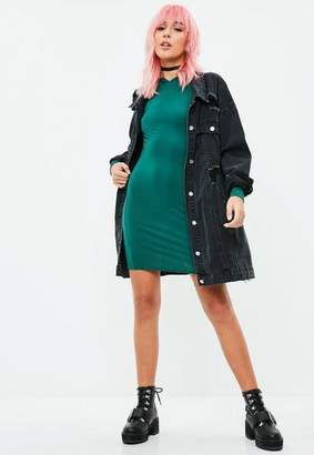 Missguided Green Long Sleeve Hooded Jersey Dress