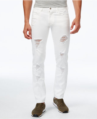 Armani Exchange Men's Straight-Fit Ripped Jeans $110 thestylecure.com