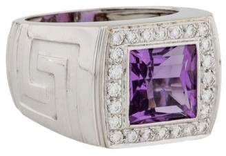 Versace 18K Amethyst & Diamond Cocktail Ring