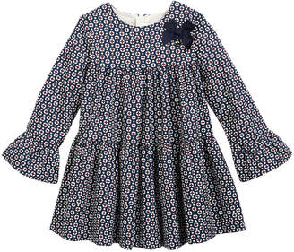 Mayoral Long-Sleeve Circle Tiered Cotton Dress, Size 6-24 Months