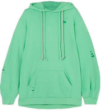 Sjyp Oversized Distressed Jersey Hooded Top - Green