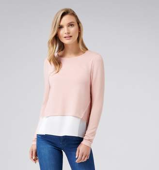 Forever New Hayden Woven Hem Lace Long Sleeve Top