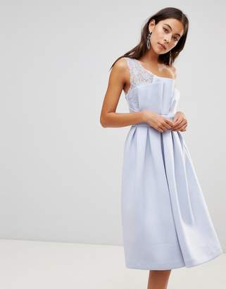 Asos PREMIUM One Shoulder Lace Scuba Midi Prom Dress