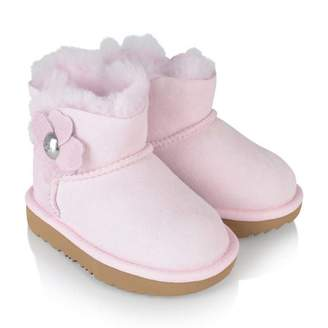 UGG UGGPink Suede T Mini Bailey Button Poppy Boots
