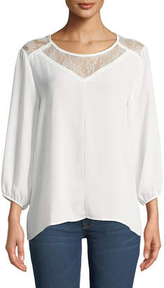 Pleione Lace Yoke Blouse with High-Low Hem