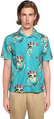 Stussy Skulls Printed Cotton Short Sleeve Shirt