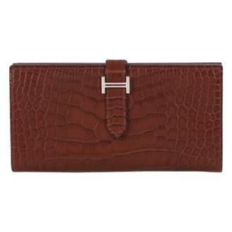 Hermes Bearn Burgundy Exotic leathers Wallets