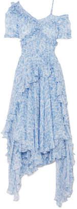Preen by Thornton Bregazzi Gwen Cold-shoulder Asymmetric Ruffled Printed Silk-chiffon Dress - Blue