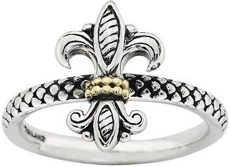 Simply Stacks Sterling Two-Tone Fleur-de-Lis Ring