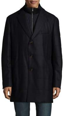 Black & Brown Black Brown Buttoned Coat