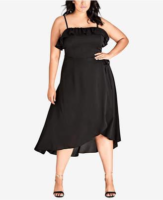 41bf84c9faebe City Chic Trendy Plus Size Faux-Wrap Dress