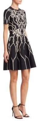 Alexander McQueen Women's Floral Knit A-Line Dress - Black - Size XL