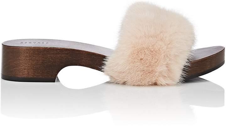 Barneys New York Women's Mink Fur Clog Sandals