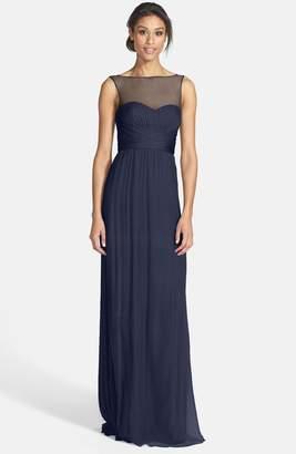 Amsale Illusion Yoke Crinkled Silk Chiffon Gown