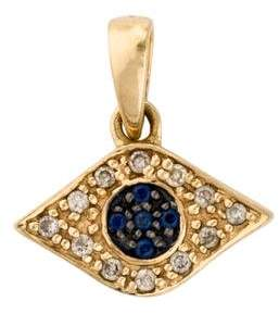 Sydney Evan 14K Diamond & Sapphire Evil Eye Pendant