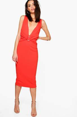 boohoo Emi Ruched Front Detail Open Back Midi Dress