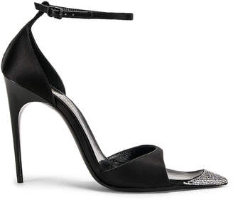 Saint Laurent Palace Crystal Heel Sandal in Black | FWRD