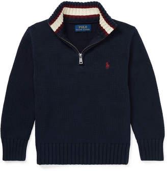 Ralph Lauren Combed Cotton Half-Zip Pullover Sweater, Size 5-7