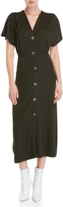 Lush Button-Front Knit Midi Dress
