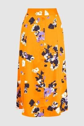 Next Womens Blue Leopard Button Through Skirt
