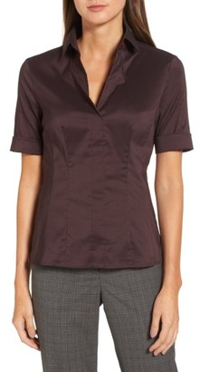 Women's Boss Bashina Stretch Poplin Shirt $185 thestylecure.com