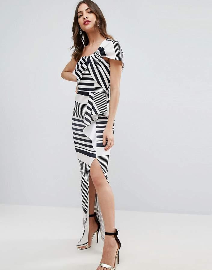 AsosASOS Stripe One Shoulder Scuba Ruffle Maxi Dress