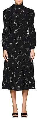 Co Women's Face-Print Silk Midi-Dress - Black