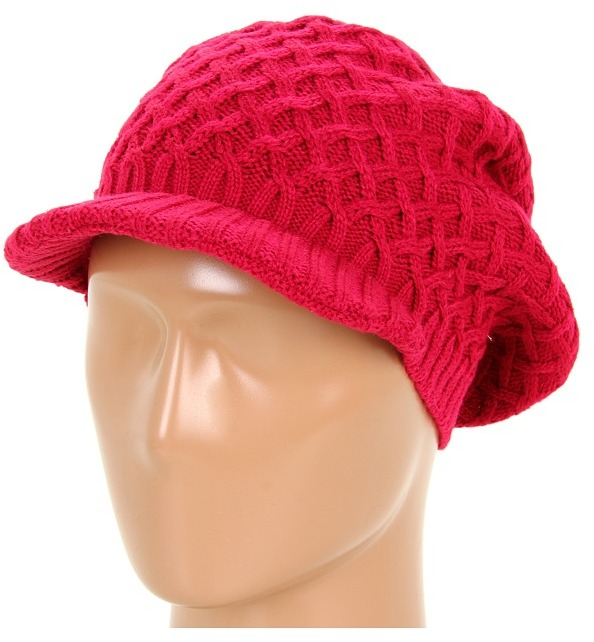 Calvin Klein - Basket Weave Newsboy Cap (Fuchsia) - Hats