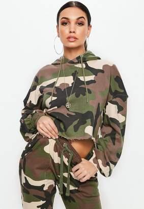 Missguided Khaki Extreme Oversized Camo Cropped Hoodie