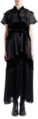 Sacai Short-Sleeve Satin Chiffon & Velvet Mixed-Media Boho Long Dress
