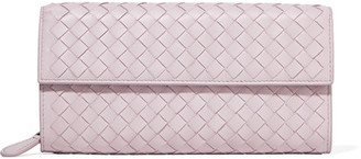 Bottega Veneta - Intrecciato Leather Continental Wallet - Lilac $760 thestylecure.com