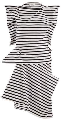 Junya Watanabe Striped Asymmetric Cotton Jersey Dress - Womens - Black Stripe