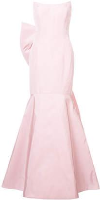 Oscar de la Renta fluted strapless gown