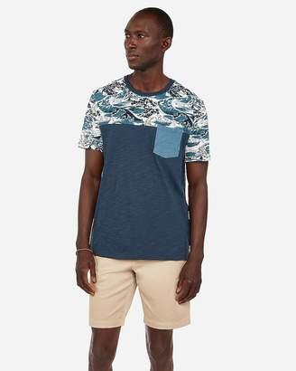 Express Graphic Yoke Color Block Pocket T-Shirt