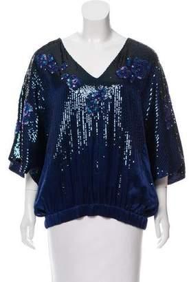 Halston Embellished Silk Top w/ Tags