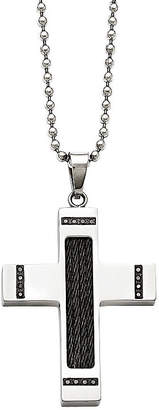 Black Diamond FINE JEWELRY Mens 1/10 CT. T.W. Color-Enhanced Stainless Steel Black Ion-Plated Pendant