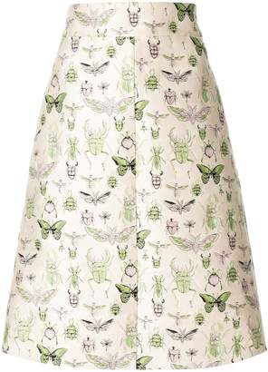 RED Valentino insect jacquard A-line skirt