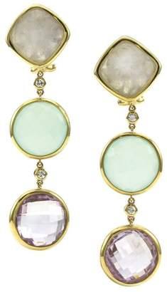 18K Yellow Gold Multi-Color Multi-Gemstone Drop Dangle Earrings