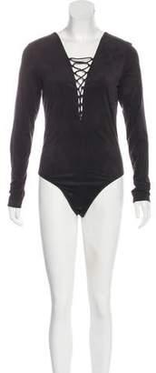 c6743b734d Alexander Wang Vegan Suede Lace-Up Bodysuit w  Tags