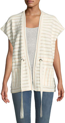 Bobeau Patty Striped Drawstring-Waist Cardigan